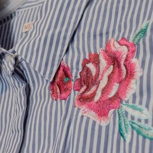 Blue Embroidered Striped blouse